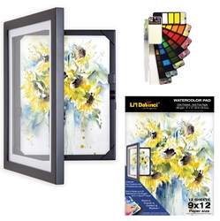 Save over 22%! Watercolor Gift Set with 9x12 Lil Davinci frame, Watercolor Palette & Pad. Ltd Qty available.
